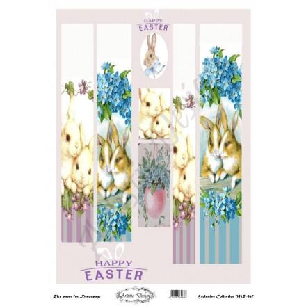 Ριζόχαρτο Artistic Design για Decoupage 30x40cm, Λαμπάδα rabbits / MR967