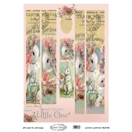 Ριζόχαρτο Artistic Design για Decoupage 30x40cm, Λαμπάδα little rabbits / MR968