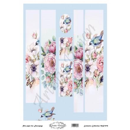 Ριζόχαρτο Artistic Design για Decoupage 30x40cm, Λαμπάδα bluebird / MR970