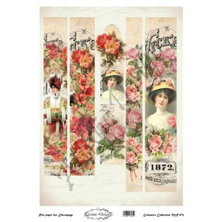 Ριζόχαρτο Artistic Design για Decoupage 30x40cm, Λαμπάδα vintage ladies / MR972
