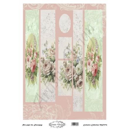 Ριζόχαρτο Artistic Design για Decoupage 30x40cm, Λαμπάδα round roses / MR974