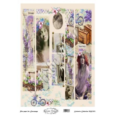 Ριζόχαρτο Artistic Design για Decoupage 30x40cm, Λαμπάδα vintage levanta / MR975