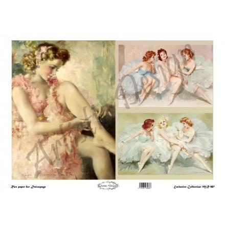 Ριζόχαρτο Artistic Design για Decoupage 30x40cm,Vintage Ladies / MR987