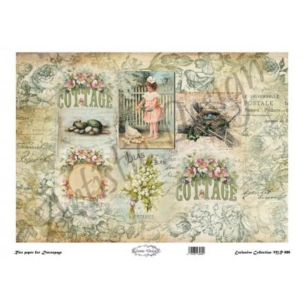 Ριζόχαρτο Artistic Design για Decoupage 30x40cm,Vintage Background bluerose / MR989
