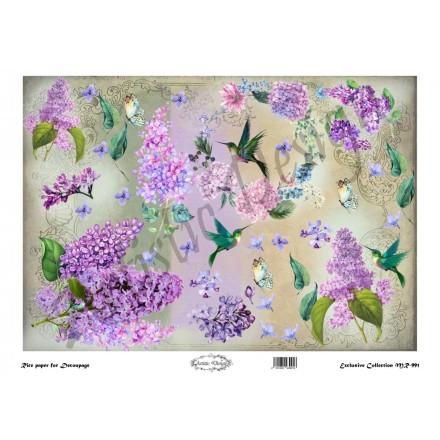 Ριζόχαρτο Artistic Design για Decoupage 30x40cm,Flower Background lilac / MR991