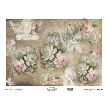 Ριζόχαρτο Artistic Design για Decoupage 30x40cm,Vintage Background roses&angels / MR992