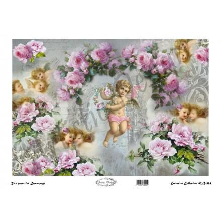 Ριζόχαρτο Artistic Design για Decoupage 30x40cm,Vintage Background roses&angels / MR994
