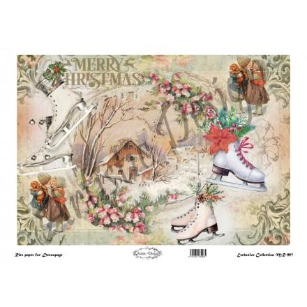 Χριστουγεννιάτικο Ριζόχαρτο Artistic Design για Decoupage 30x40cm, Merry Christmas / MR997