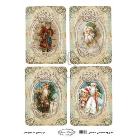 Χριστουγεννιάτικο Ριζόχαρτο Artistic Design για Decoupage 30x40cm, Christmas Vintage Santa Labels / MR998