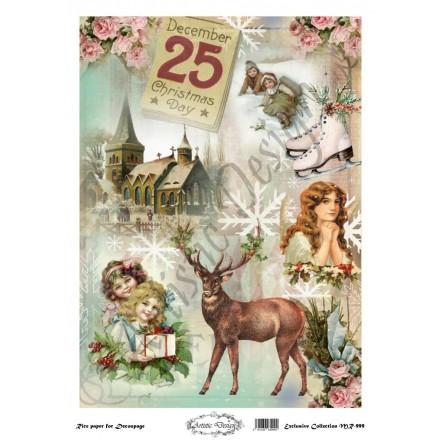 Χριστουγεννιάτικο Ριζόχαρτο Artistic Design για Decoupage 30x40cm, Christmas Deer / MR999