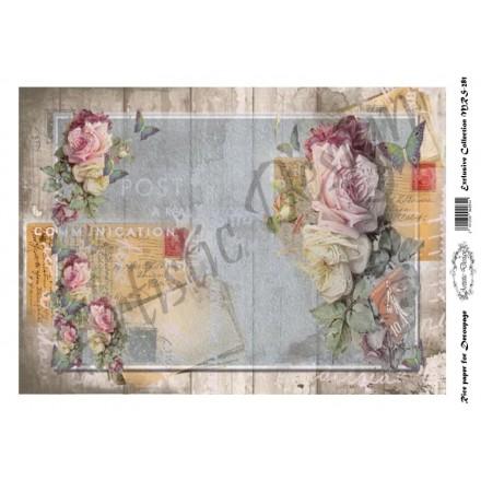 Ριζόχαρτο Aristic Design για Decoupage A4,  postcards & roses / MRS281