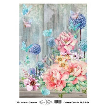 Ριζόχαρτο Aristic Design για Decoupage A4, flowers & butterflies / MRS285