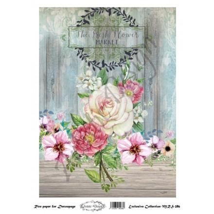 Ριζόχαρτο Aristic Design για Decoupage A4, flowers / MRS286