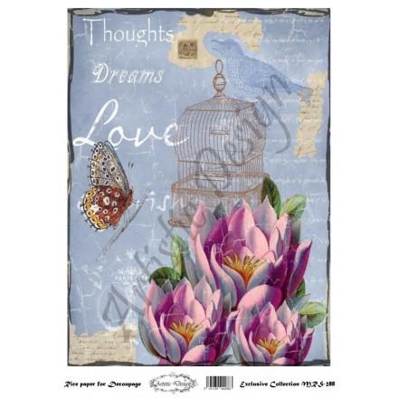 Ριζόχαρτο Aristic Design για Decoupage A4, thoughts, dreams, love / MRS288