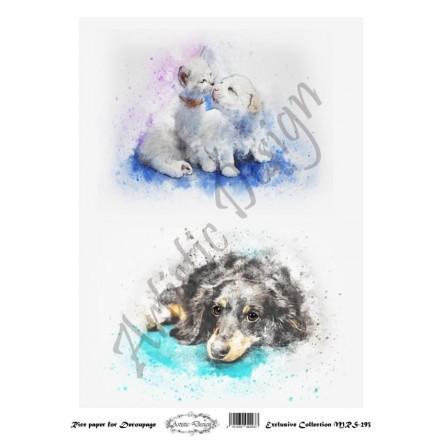 Ριζόχαρτο Aristic Design για Decoupage A4, cats & dogs / MRS293