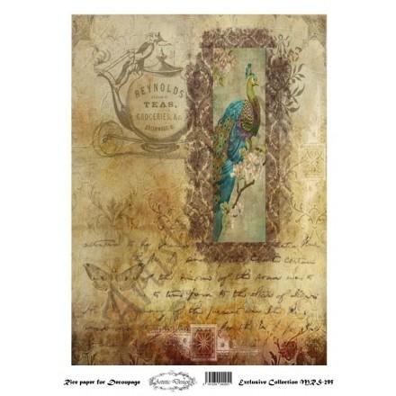 Ριζόχαρτο Aristic Design για Decoupage A4, background - peacock / MRS295