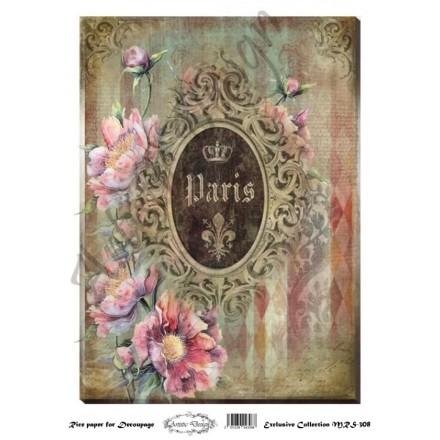 Ριζόχαρτο Artistic Design για Decoupage A4, vintage background / MRS308