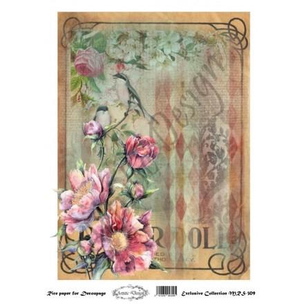 Ριζόχαρτο Artistic Design για Decoupage A4, vintage background / MRS309