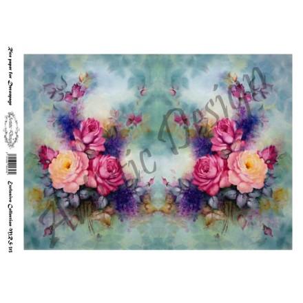Ριζόχαρτο Artistic Design για Decoupage A4, Water Colour Flower Art / MRS313