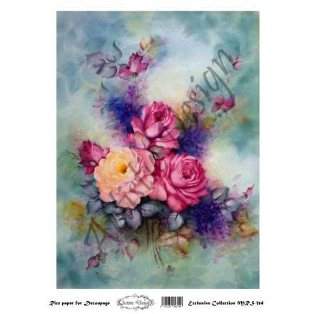 Ριζόχαρτο Artistic Design για Decoupage A4, Water Colour Flower Art / MRS314