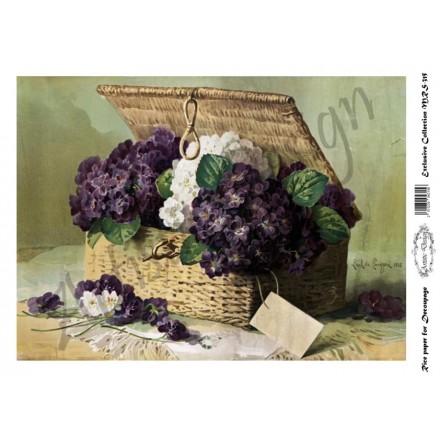 Ριζόχαρτο Artistic Design για Decoupage A4, Basket of Violets / MRS315