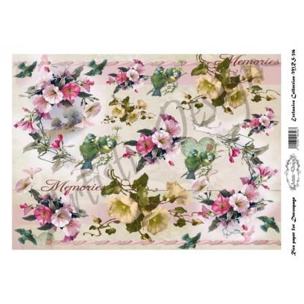 Ριζόχαρτο Artistic Design για Decoupage A4, Flower Background morningglory / MRS316