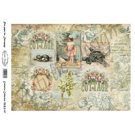 Ριζόχαρτο Artistic Design για Decoupage A4, Vintage Background bluerose / MRS317