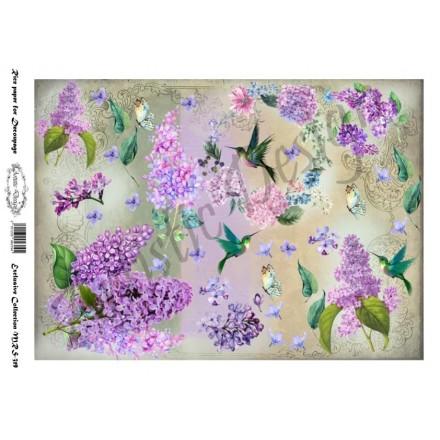 Ριζόχαρτο Artistic Design για Decoupage A4, Flower Background lilac / MRS319