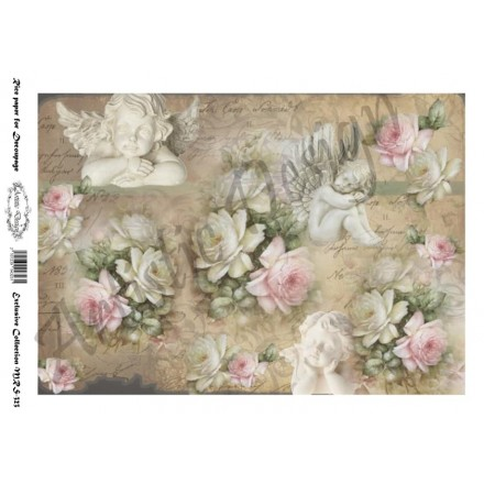 Ριζόχαρτο Artistic Design για Decoupage A4, Vintage Background roses&angels  / MRS323