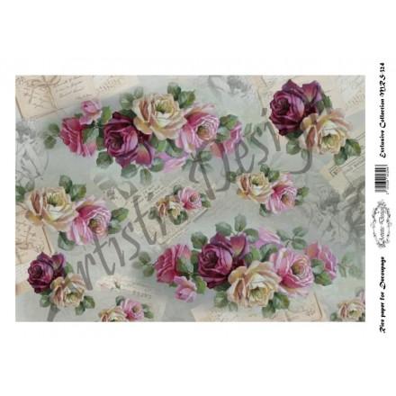Ριζόχαρτο Artistic Design για Decoupage A4, Roses  / MRS324