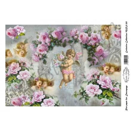 Ριζόχαρτο Artistic Design για Decoupage A4, Vintage Background roses&angels  / MRS325