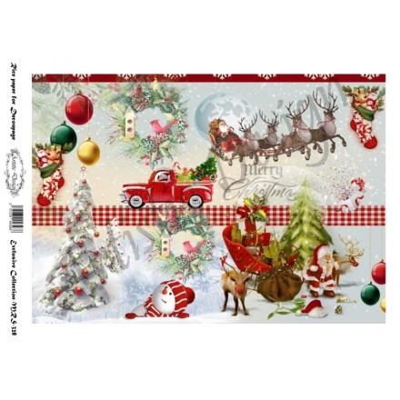 Χριστουγεννιάτικο Ριζόχαρτο Artistic Design για Decoupage Α4, Merry Christmas Santa / MRS328