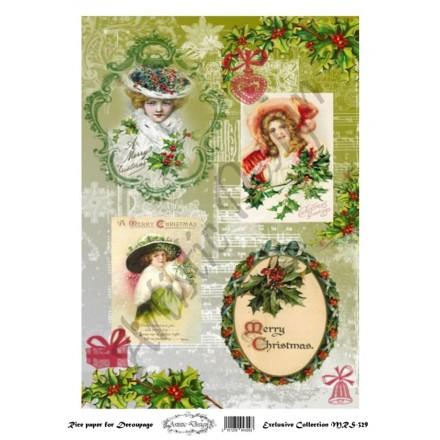 Χριστουγεννιάτικο Ριζόχαρτο Artistic Design για Decoupage Α4, Merry Christmas Vintage Labels / MRS329