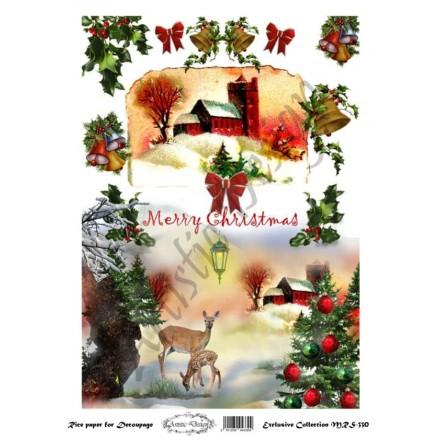 Χριστουγεννιάτικο Ριζόχαρτο Artistic Design για Decoupage Α4, Merry Christmas / MRS330