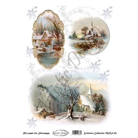 Ριζόχαρτο Artistic Design για Decoupage Α4, Christmas Χειμωνιάτικο Τοπίο / MRS333