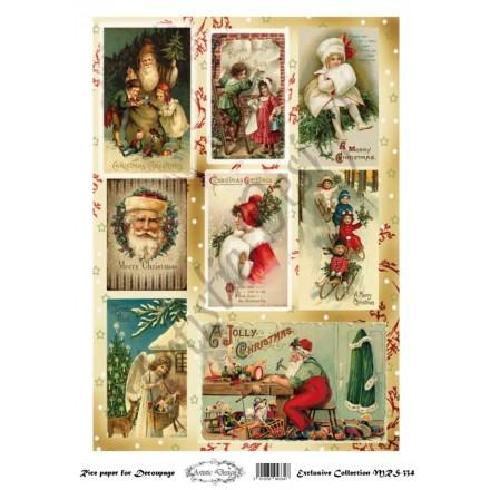 Χριστουγεννιάτικο Ριζόχαρτο Artistic Design για Decoupage Α4, Christmas Vintage Santa Labels / MRS334