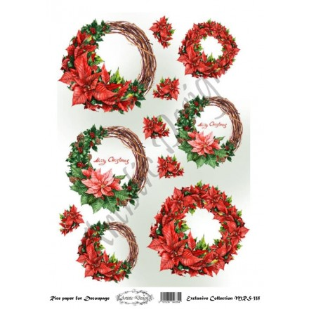 Χριστουγεννιάτικο Ριζόχαρτο Artistic Design για Decoupage Α4, Christmas Στεφάνια / MRS335