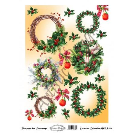 Χριστουγεννιάτικο Ριζόχαρτο Artistic Design για Decoupage Α4, Christmas Στεφάνια / MRS336
