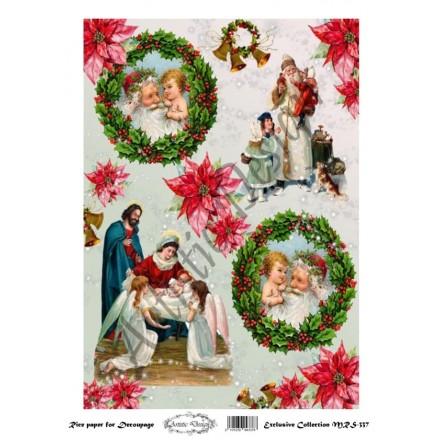 Χριστουγεννιάτικο Ριζόχαρτο Artistic Design για Decoupage Α4, Christmas Icons / MRS337