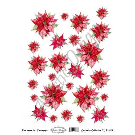 Χριστουγεννιάτικο Ριζόχαρτο Artistic Design για Decoupage Α4, Christmas Poinsetia (Αλεξανδρινό) / MRS338