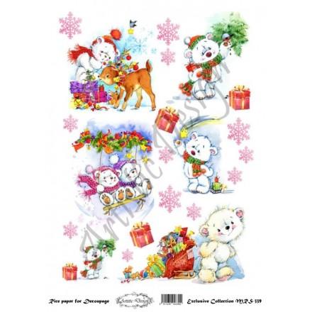 Χριστουγεννιάτικο Ριζόχαρτο Artistic Design για Decoupage Α4, Christmas Cute bears / MRS339