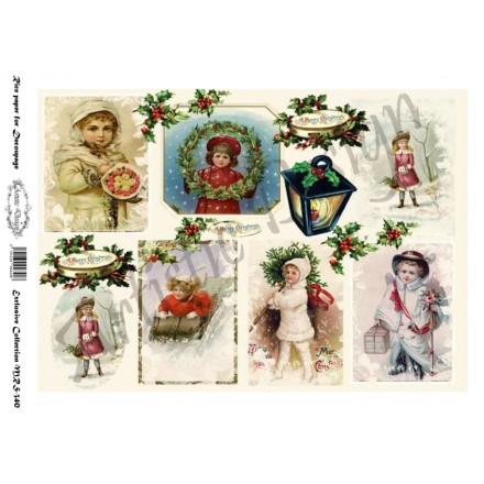 Χριστουγεννιάτικο Ριζόχαρτο Artistic Design για Decoupage Α4, Christmas Vintage Labels / MRS340