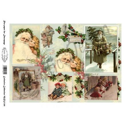 Χριστουγεννιάτικο Ριζόχαρτο Artistic Design για Decoupage Α4, Christmas Vintage Santa / MRS341