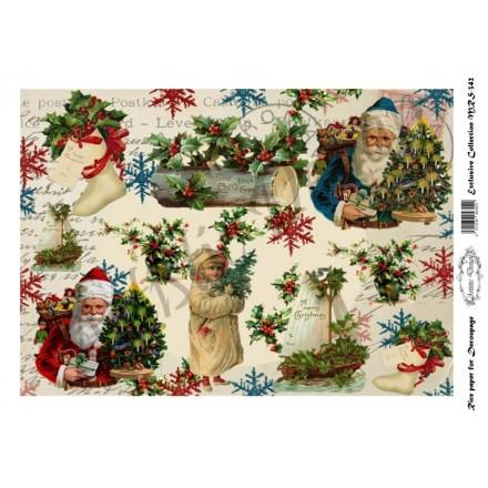 Χριστουγεννιάτικο Ριζόχαρτο Artistic Design για Decoupage Α4, Christmas Santa / MRS342