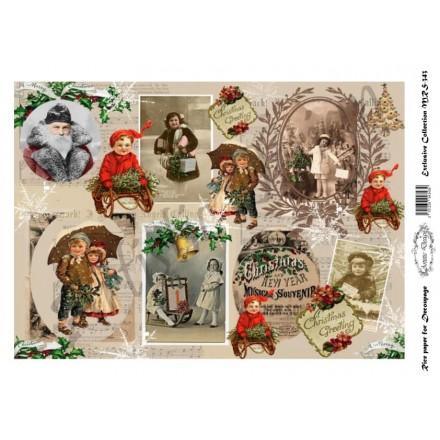 Χριστουγεννιάτικο Ριζόχαρτο Artistic Design για Decoupage Α4, Christmas Vintage / MRS343