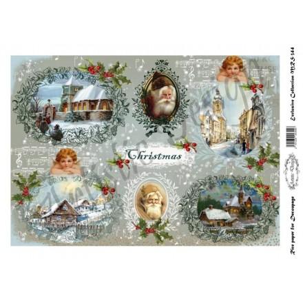 Χριστουγεννιάτικο Ριζόχαρτο Artistic Design για Decoupage Α4, Christmas Vintage Icons  / MRS344