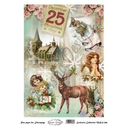 Χριστουγεννιάτικο Ριζόχαρτο Artistic Design για Decoupage Α4, Christmas Deer / MRS346