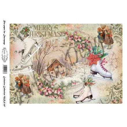 Χριστουγεννιάτικο Ριζόχαρτο Artistic Design για Decoupage Α4, Merry Christmas / MRS347