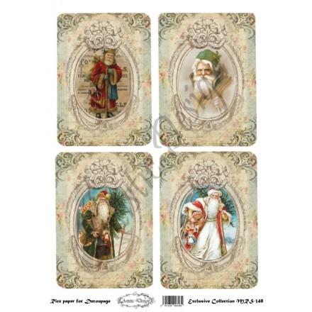 Χριστουγεννιάτικο Ριζόχαρτο Artistic Design για Decoupage Α4, Christmas Vintage Santa Labels / MRS348