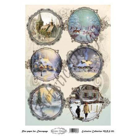 Χριστουγεννιάτικο Ριζόχαρτο Artistic Design για Decoupage Α4, Christmas Landscapes (Τοπία) / MRS353